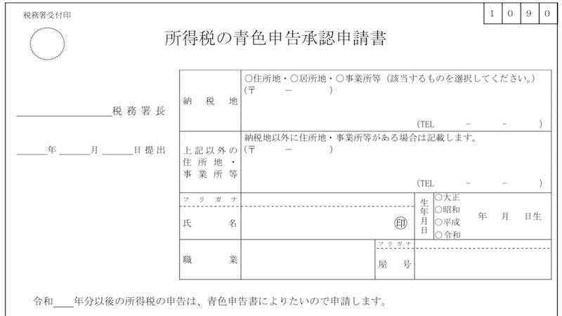 青色申告承認申請書のテンプレート