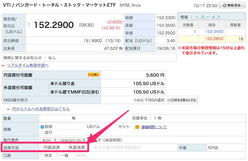 楽天証券の米国株購入画面
