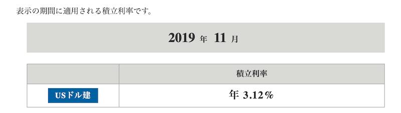 2019年11月のドルスマートの積立利率
