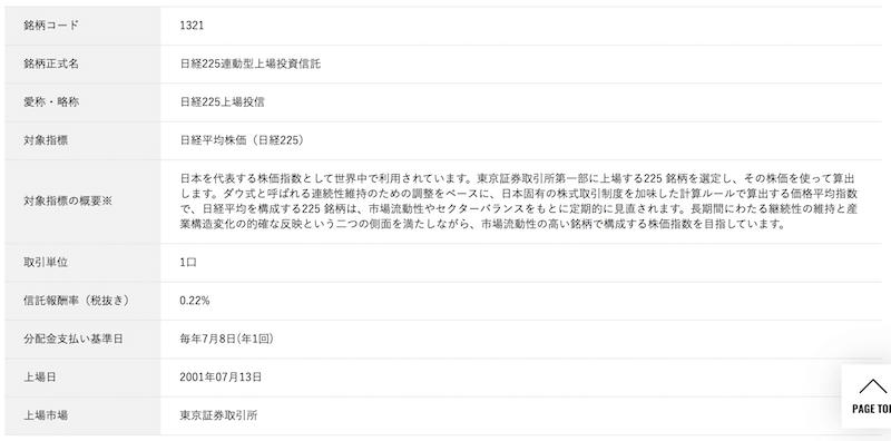 日経225連動型上場投資信託の商品概要